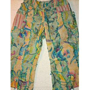 Oilily Pants Embroidered Turquoise Floral Size 6X